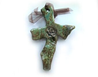 Wall Hanging Cross,  Cross for Wall,  Ceramic Cross,  Decorated Art Wall Cross,petite cross, OOAK Cross, # 3