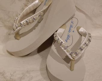 Ivory Flip Flops or White Flip Flops with Pearls and Rhinestones Beach Wedding Sandals Ivory Bridal Sandals Ivory Wedding Sandals