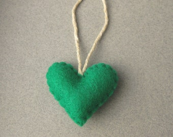 Green Felt Heart Ornament, Christmas ornament Recycled Felt Eco Friendly