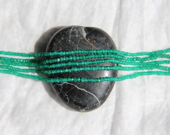 Strand 15cm 2 x 3mm Green Onyx faceted beads - natural semi precious natural gem stone