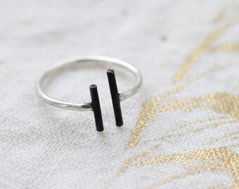 Black Bar Sterling Silver Ring- Free Shipping