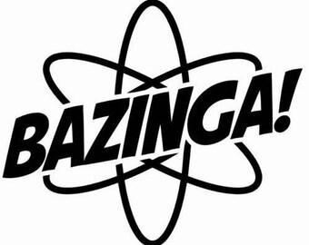 DIY Bazinga Word Vinyl Decal, Big Bang Theory, Car Window Decal, Laptop Decal, Tablet Decal, Cell Phone, Yedi Mug Decal, Canvas Vinyl Decal