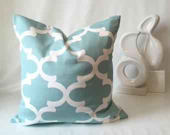 Moroccan Pillow Cover - Aqua & White, 18 x 18, One, Quatrefoil Pillow