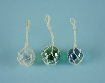 Single Fishermans Glass Fishing Float with Rope - 1:12 or 1/12 Scale Dollhouse Miniatures, Clear, Green or Blue, Buoy, Nautical, Beach Decor