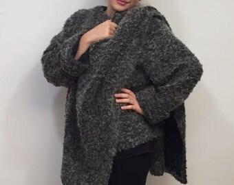 Olimpia's Asymmetric Buckle Coat, Avant Garde Coat, Extravagant Grey Jacket, Wool Blend Knit Fabric, Blazer