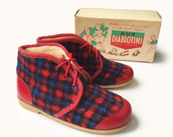 Vintage 50's Tartan Red/Blue Lined Slippers/Booties French NOS Size EU 29