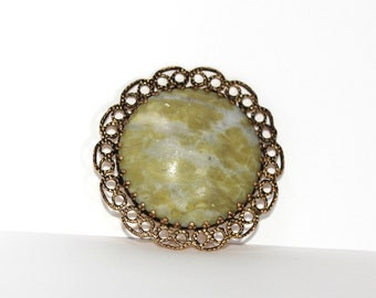 Vintage Round Brooch Gold Tone with Green & Blue Stone