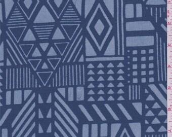 Oxford Blue Geo Ethnic Mesh, Fabric By The Yard