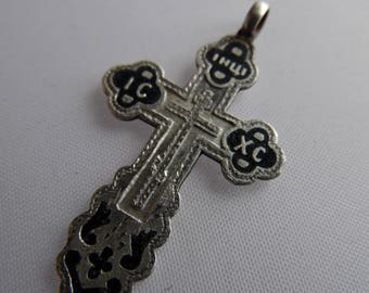Antique Russian Imperial sterling silver 84 cross with the icon on the back.صليب