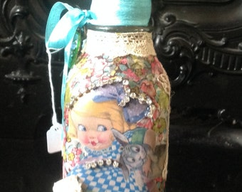 Beautiful Vintage Easter style Altered Bottle
