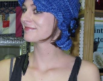 Knitted Cobalt Blue Flapper Cloche with Black Trim