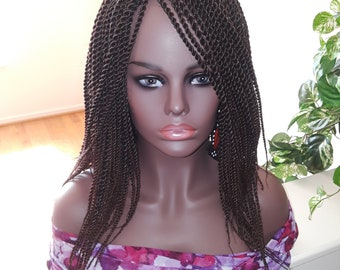 Braided Wig, Twist, Ombre, Off Black with Dark Auburn, T1b/33, 14 in