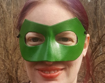 Green Mask - Long Nose Superhero Mask - Molded Leather Mask - Superhero Comic Costume