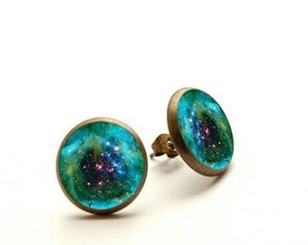 Orion - handmade stud earrings, Orion Nebula Jewelry, Galaxy stud, Hypoallergenic Earrings