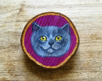 Grey Cat Painted Wooden Wall Hanging