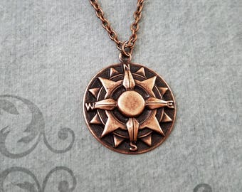 Compass Necklace SMALL Compass Jewelry Copper Compass Pendant Necklace Long Distance Relationship Bridesmaid Necklace Travel Charm Necklace