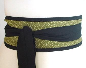 Obi belt Japan traditional seigaiha sashiko wave pattern - green and black - olive apple green greenery - kimono yukata belt ceinture Gürtel