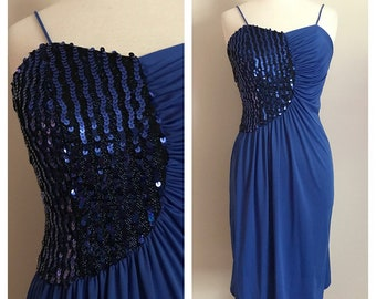 70s 80s Blue Disco Dress With Sequin Detail