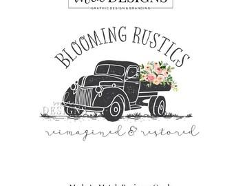 Vintage Truck Logo, Flower Logo, Truck Logo, Shabby Country Logo Country Rustic Logo, Premade Logo Bohemian Logo Watercolor Logo