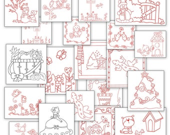 SALE Fun Hand Embroidery Patterns Redwork Designs 20 Designs in 4 Sizes PDF Instant Download BIrds, Snowmen, Dog, Sunbonnet, Flowers