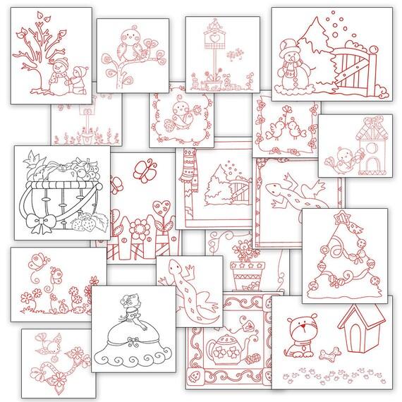 Sale Fun Hand Embroidery Patterns Redwork Designs 20 Designs