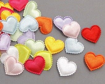 50 Padded Satin Heart Appliques 3/4 inch 10 Colors EA222