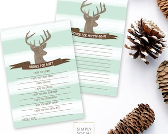 INSTANT DOWNLOAD Buck Baby Shower Party Games, Deer Baby Shower Printables, Advice for Mommy, Wishes for Baby, Printable Party Files DIY