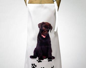 Adorable Chocolate Labrador Print Apron