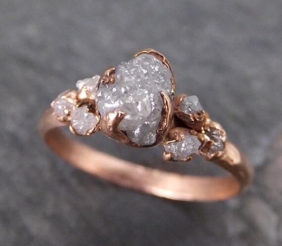 Custom Made Similar Raw Diamond Rose Gold Engagement Ring