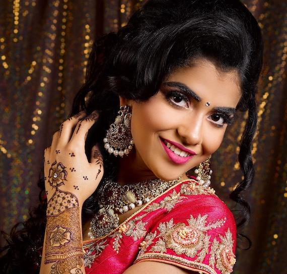 Nisha Gold zirconia maroon pearl necklace earrings tikka set, indian Pakistani bridal jewellery