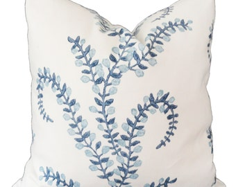 Prasana in Bluebell Decorative Pillow Cover Square, lumbar or Euro pillow cover, accent pillow throw pillow made with Duralee John Robshaw