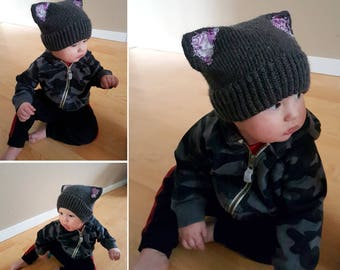 Punk Rock Kitty Baby Toque (knitted)