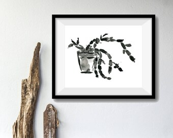 Succulent plant art print, Succulent ink drawing print, succulent art, Christmas cactus drawing, Black succulent, Japanese inspired art