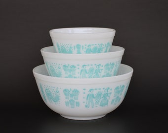 Pyrex Amish Butterprint Mixing Bowls, Turquoise on White Vintage Bowls, Stamp Program Product Line