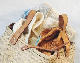 Wicket Bag with Leather straps and clasps