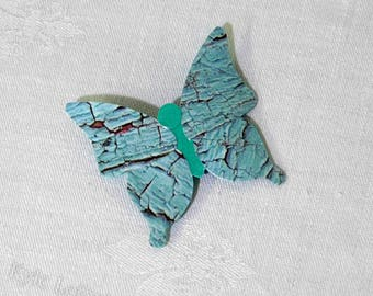 Unique Cracked Blue Paper Butterfly Brooch Pin - Light Blue and Turquoise