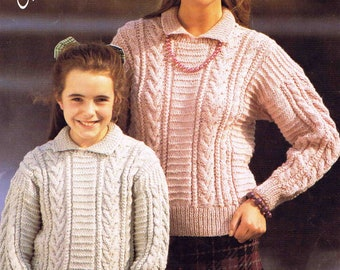 Girl's Lady's Sweater Pullover Jumper with Collar - Robin Aran 14421 size 66 to 102 cm (26 to 40 inches) - Vintage Knitting Pattern