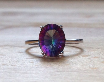 Oval Rainbow Fire Mystic Topaz Ring