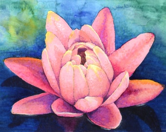 """Water Lily 8"""" x 10"""" Original Watercolor Illustration"""