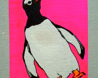 "Waddle I Do With Myself #220 (ARTIST TRADING CARD) 2.5"" x 3.5""  by Mike Kraus"