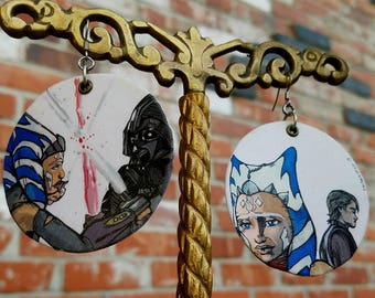 Ahsoka Tano and Anakin Skywalker - Star Wars Darth Vader hand-painted earrings - I am no Jedi