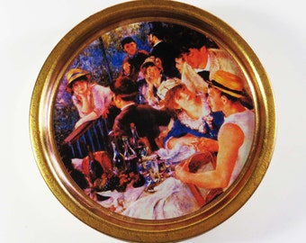 """SALE! Vintage AUGUSTE RENOIR """"Luncheon of the Boating Party"""" Tin / 7.5"""" Round Collectible / Fill w Cookies & Candy for Birthday-Christmas"""