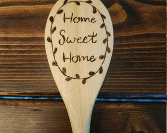 """Rustic Heart """"Home Sweet Home"""" Wooden wood burned 14"""" kitchen spoon! Great for Anniversaries, Weddings, Showers, House Warming, etc."""