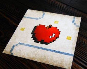 Pac Man Apple - 8 bit - video game art - retro gaming - wall art - art prints - geek art - Ready Player One