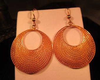 Boho Sterling Silver Gold Wash Textured hoop Earrings