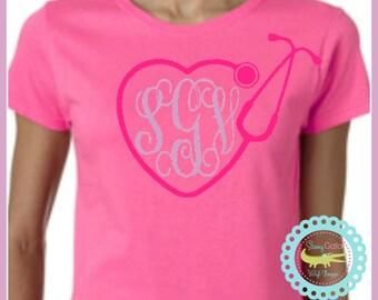 NURSE STETHOSCOPE Monogrammed Shirts, Just for Her, Nurse Shirt, Nurse Monogram Shirt, Nursing Student Shirt,Medical,Nurse Life,Just for Mom