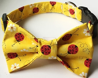 Yellow Ladybug  Bow Tie Collar with Daisies for Dogs & Cats with Available Matching Leash