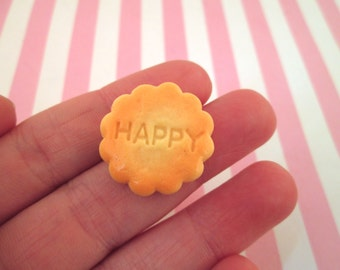 "Miniature ""Happy"" Biscuit Cookie Decoden Kawaii Cabochons, #096a"