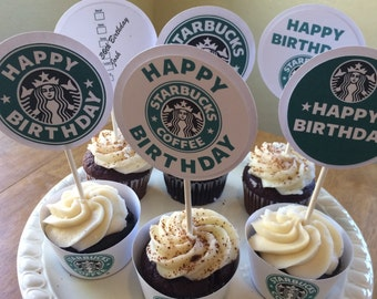 Starbucks Inspired Cupcake Toppers