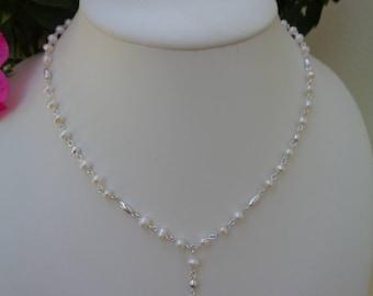 Pearl Necklace with silver, Y necklace, 925 Silver